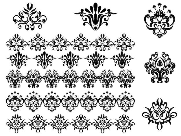 Padrões florais e bordas