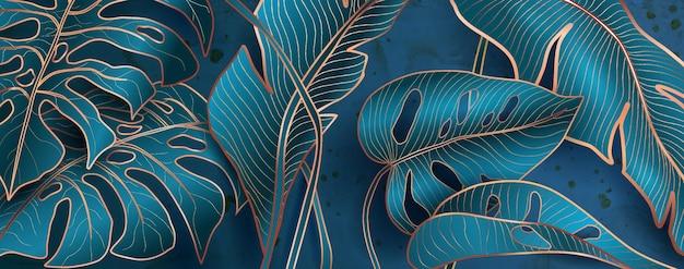 Padrões florais em cores metálicas azuis e serpentinas em cenários de decoração de casa e banners.