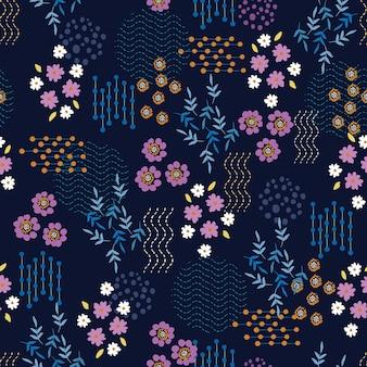 Padrões florais em pequena escala se misturam com formas geométricas de flores e pontos de linha