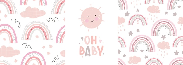 Padrões fofos de arco-íris e letras oh baby impressão infantil criativa para embrulho de tecido têxtil