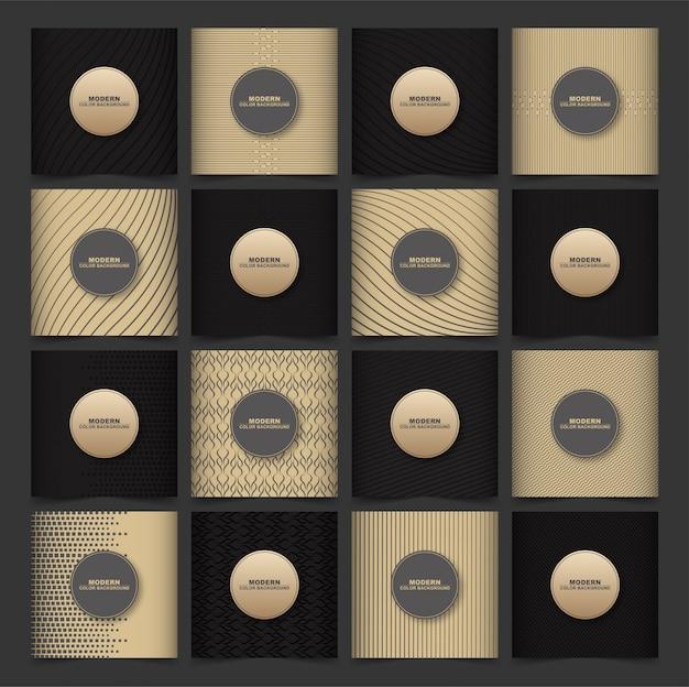Padrões geométricos abstratos cobrem conjunto com cor marrom e escura