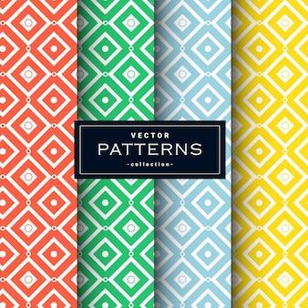 Padrões geométricos abstratos definidos em quatro cores