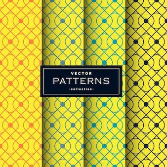 Padrões geométricos abstratos sem costura definidos em cores amarelas