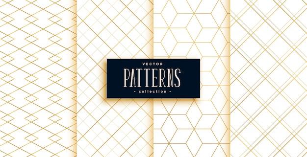 Padrões geométricos art deco dourados e brancos