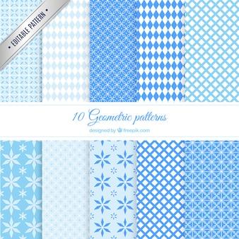 Padrões geométricos azuis