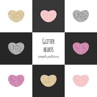 Padrões geométricos com corações de glitter: ouro, rosa, prata.