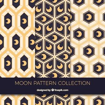 Padrões geométricos com luas decorativas
