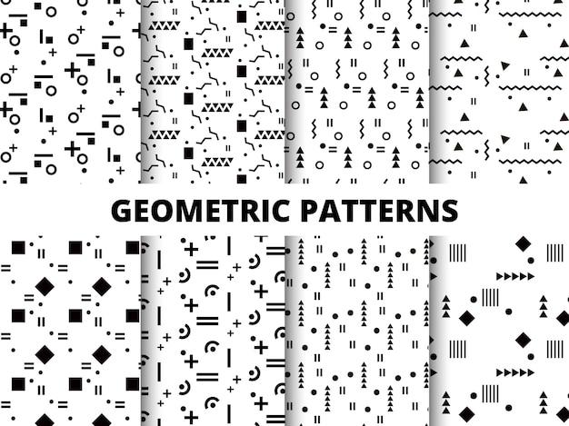 Padrões geométricos preto e branco