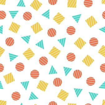 Padrões geométricos primitivos sem emenda para tecidos e cartões postais. fundo de cor moderno descolados da moda. cartão de memphis na moda de elementos geométricos. ilustração vetorial