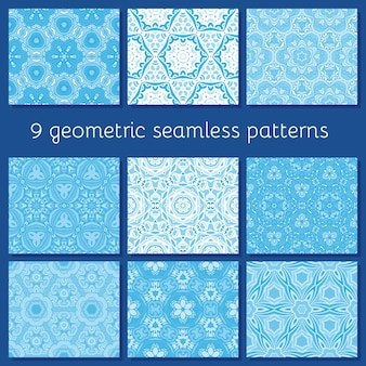 Padrões geométricos sem costura definidos para cartões de inverno, convites, cartazes,