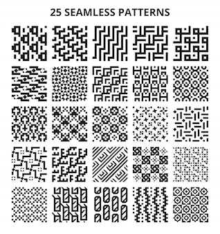 Padrões geométricos sem emenda monocromáticos. fronteira repetitiva de vetor de linha geométrica fractal abstrato