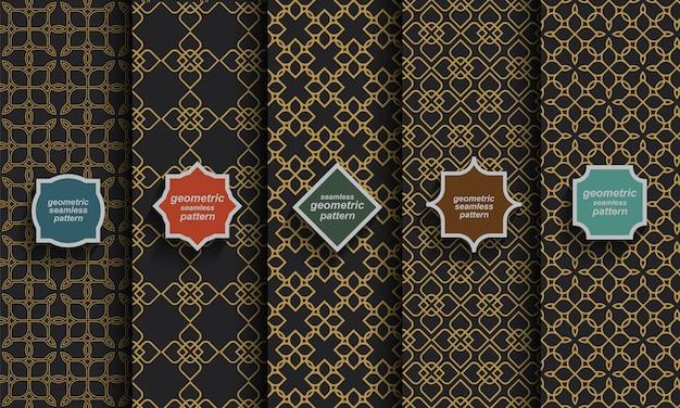 Padrões islâmicos sem costura pretos e dourados, conjunto de vetores