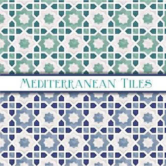 Padrões mediterrânicos geométricos de cores delicadas