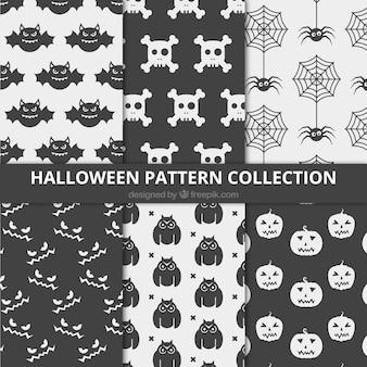 Padrões minimalistas com elementos de halloween