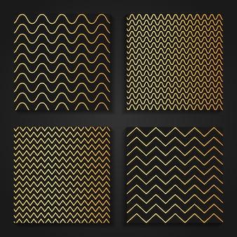 Padrões orientais simples de ouro em zig zag.