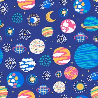 Padrões sem costura com planetas e estrelas