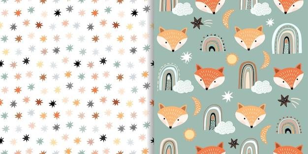 Padrões sem costura com raposas e estrelas
