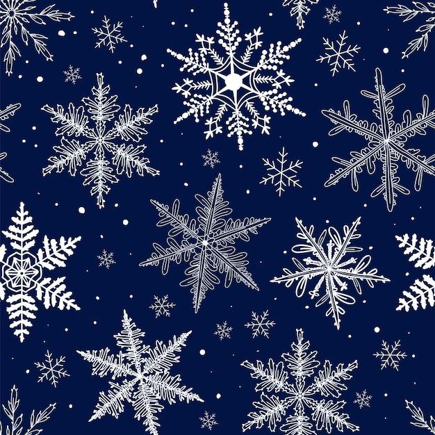 Padrões sem costura de inverno com flocos de neve
