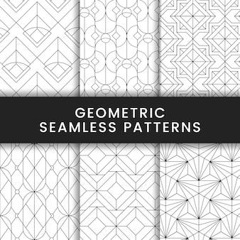 Padrões sem costura geométricos pretos em um fundo branco