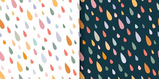 Padrões sem costura infantis conjunto com gotas de chuva colorida