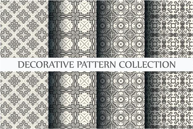 Padrões sem costura preto e branco mínimos definidos com estilo arabesco