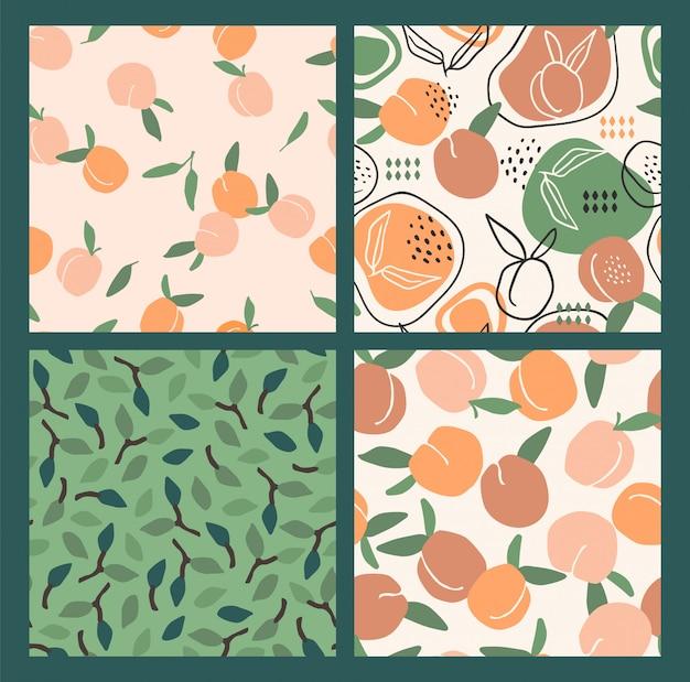 Padrões sem emenda com pêssegos. texturas desenhadas mão na moda.
