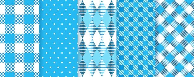 Padrões sem emenda da baviera de octoberfest. planos de fundo azuis com losango, bolinhas, verificar. estampas xadrez xadrez