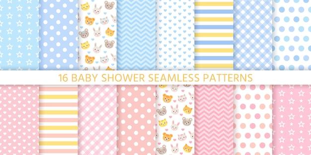 Padrões sem emenda de chuveiro de bebê para menino e menina. ilustração.