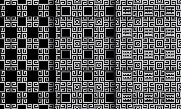 Padrões sem emenda de estilo étnico abstrato geométrico preto e branco