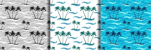 Padrões sem emenda de ilhas tropicais com palmeiras