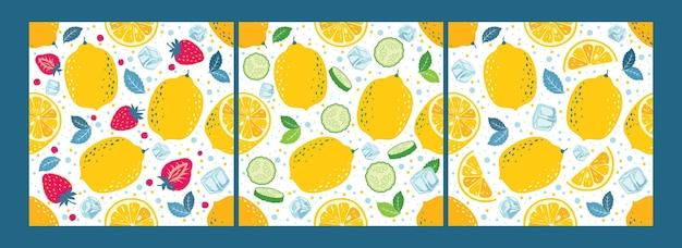 Padrões sem emenda de limão definir frutas de limão, metades, fatias, refrigerante, pepinos, morangos, cubos de gelo.