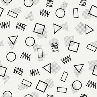 Padrões sem emenda de memphis. 80-90s. texturas de jumble abstratas.
