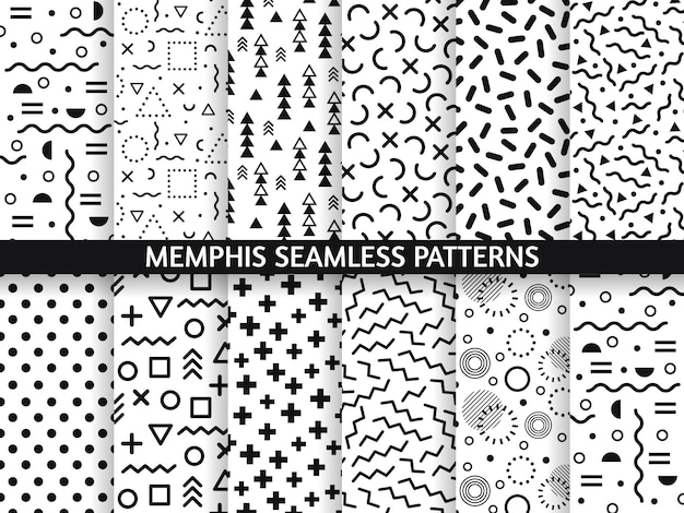 Padrões sem emenda de memphis. funky padrão, moda retrô dos anos 80 e 90 imprimir textura padrão. conjunto de texturas de estilo de gráficos geométricos