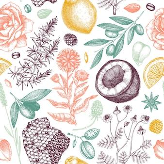 Padrões sem emenda de sabonete desenhado à mão em ingredientes de cores e fundo de materiais aromáticos
