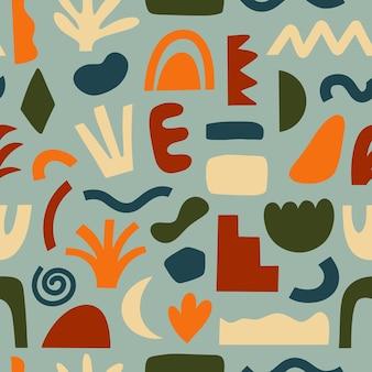 Padrões sem emenda desenhados à mão em várias formas e objetos de doodle