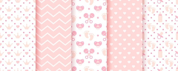 Padrões sem emenda do rosa bebê. estampas em pastel. origens do chuveiro de bebê. conjunto de texturas de crianças.