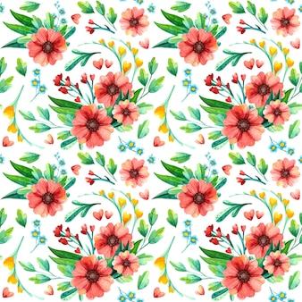 Padrões sem emenda florais brilhantes em aquarela. repetindo a textura com flores vermelhas.