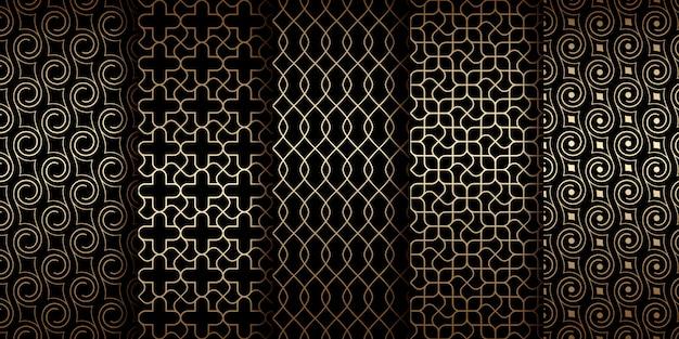 Padrões sem emenda orientais dourados com arabescos e linhas curvas, coleção