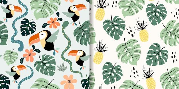 Padrões sem emenda tropicais conjunto com frutas e pássaros exóticos, tucano, abacaxi, design moderno