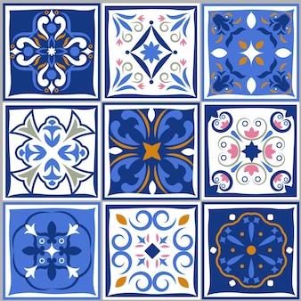 Padrões vintage de azulejos de cerâmica.