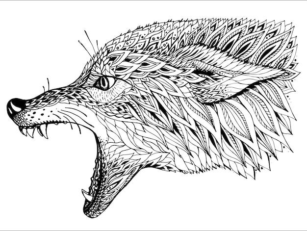 Padronizada a cabeça do lobo. totem étnico tribal, desenho de tatuagem.