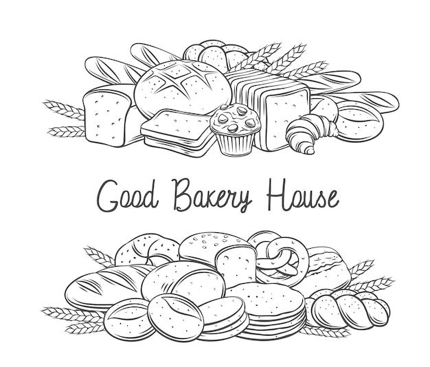 Pães assados em banne contorno ilustração monocromática
