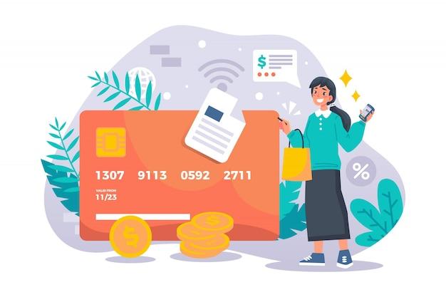 Pagamento com cartão de crédito da página de destino do conceito