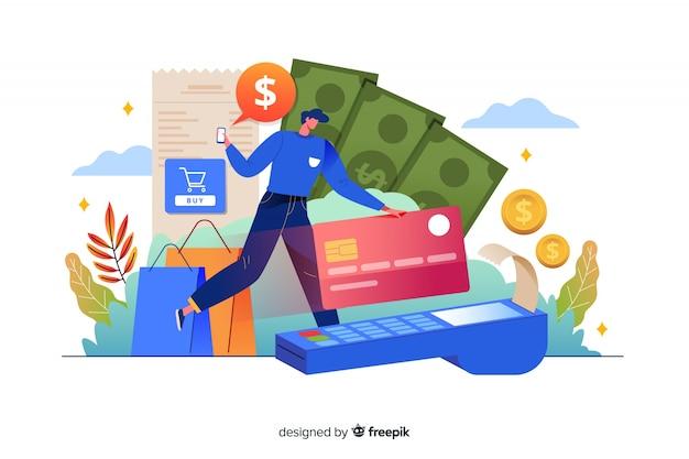 Pagamento com cartão de crédito do conceito da página de destino