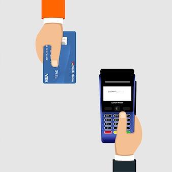 Pagamento com cartão de crédito usando uma máquina edc