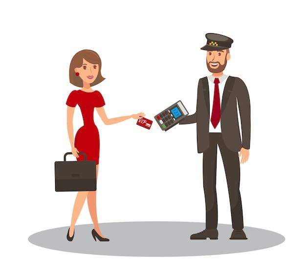 Pagamento com cartão de táxi cartoon ilustração plana