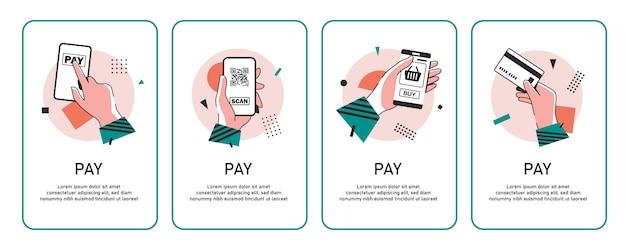 Pagamento com ícone de smartphone, pagamento móvel on-line, icon ilustração design plano