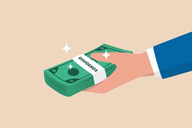 Pagamento de ações de dividendos.