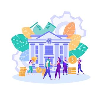 Pagamento de armazenamento de banco seguro vector plana