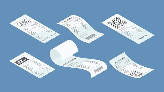 Pagamento de cheque isométrico. compra de fatura financeira compra de cálculo de vetor de pagamento definido. ilustração cheque pagamento, pagamento aprovado